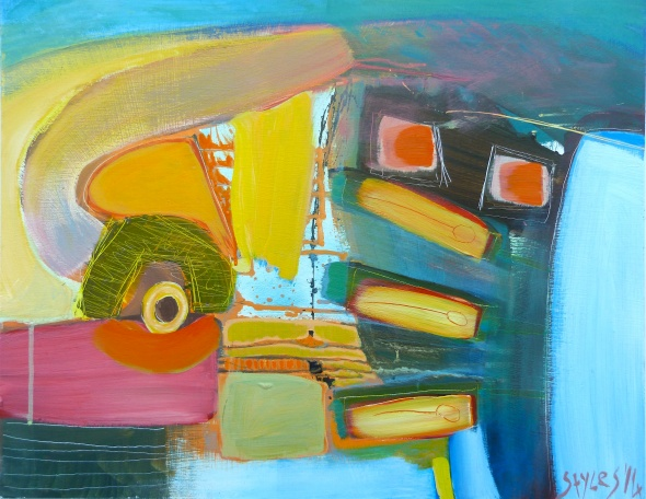 'Trigger the density'%0A'Trigger the density', Mixed media on board, 45cms H x 58cms W 2014